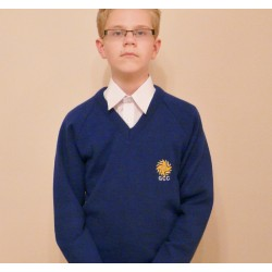 Boys/Girls Glossopdale v neck jumper now with NEW LOGO